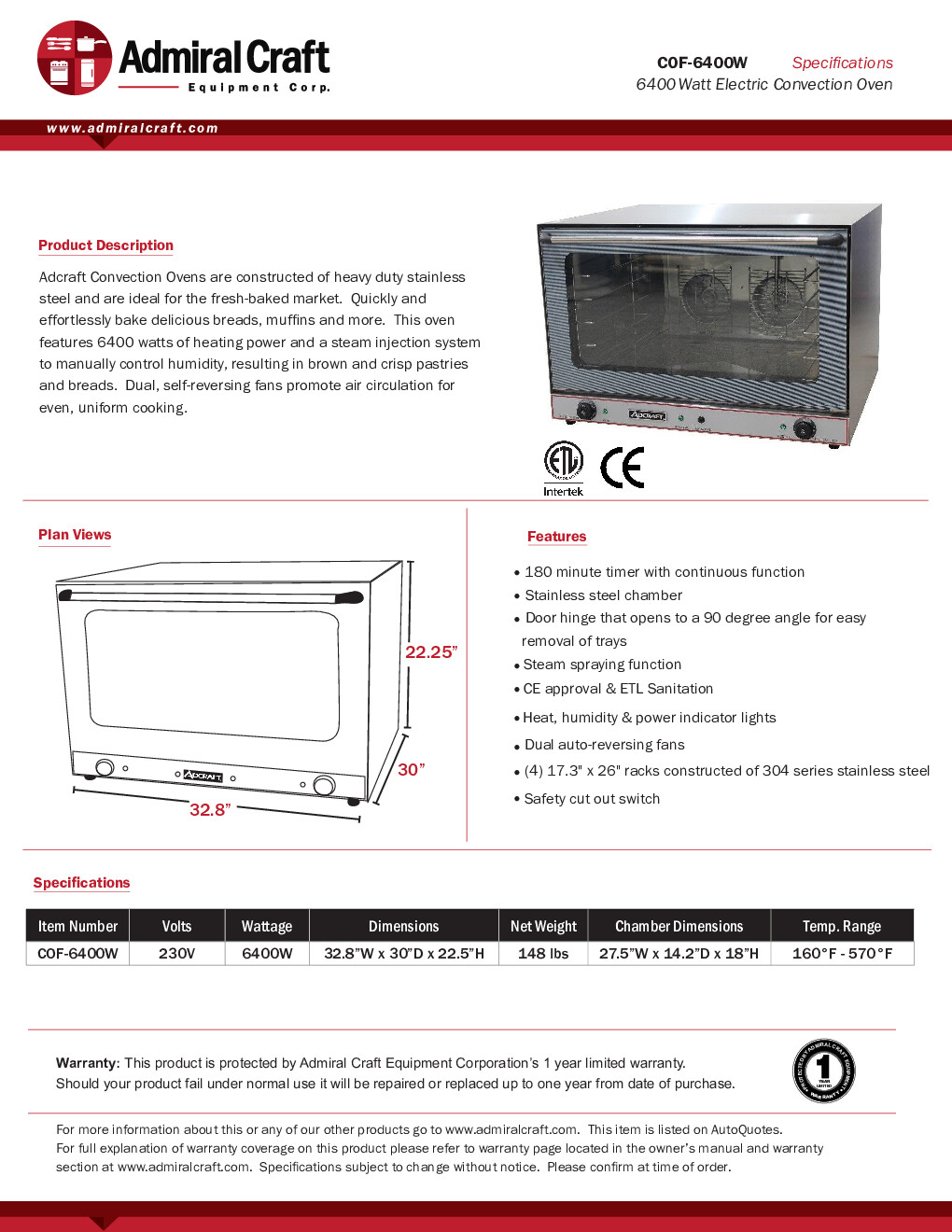 Adcraft COF-6400W Single Deck Full Size Electric Convection Oven