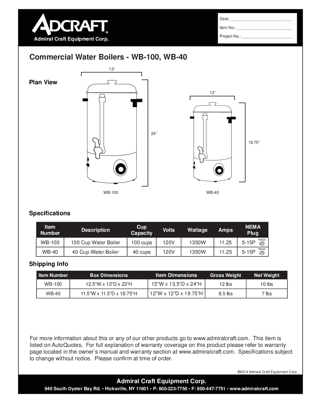 Adcraft WB-40 Commercial Water Boiler, 40 Cups