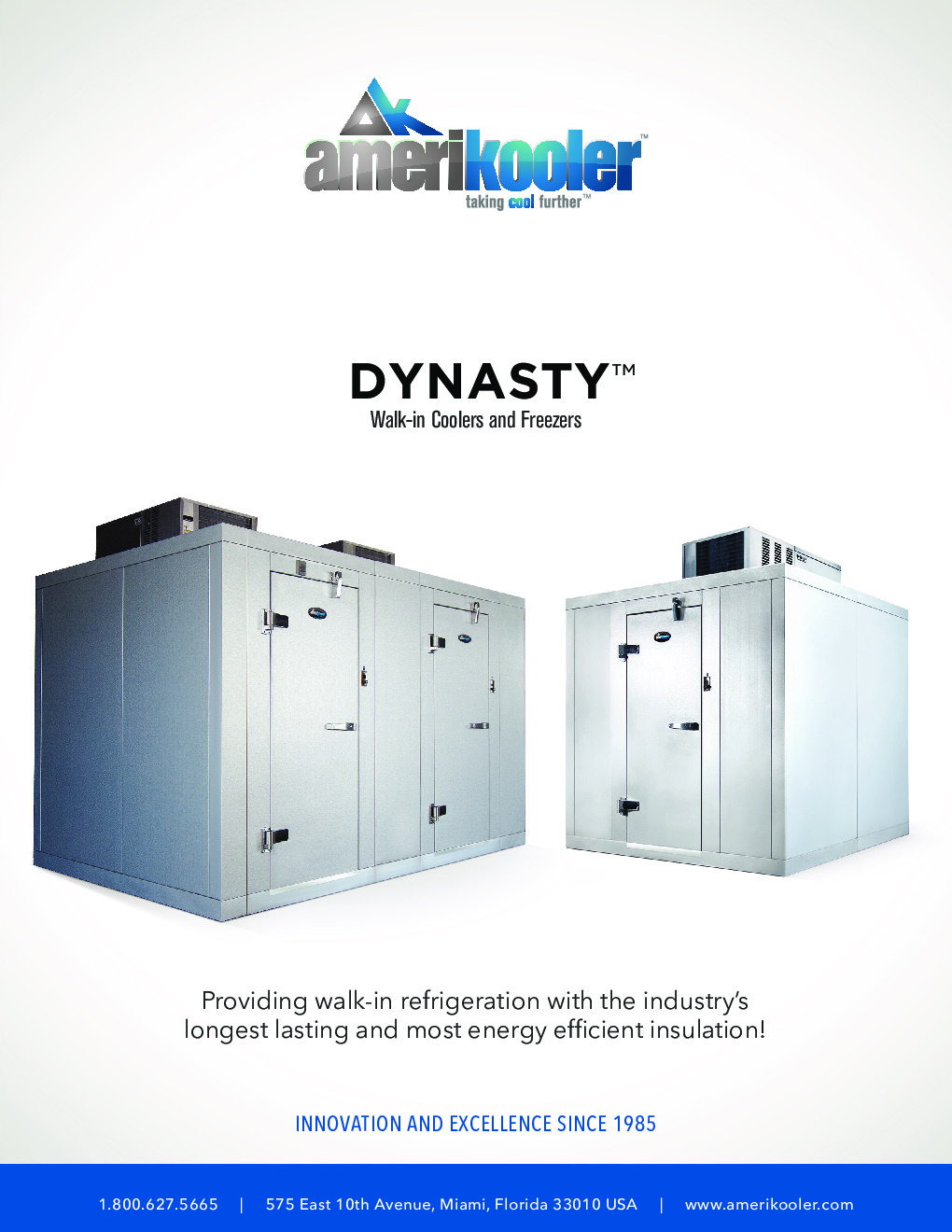 AmeriKooler DW081577F-4/11-SC 8' X 15' Walk-In Cooler, 11' L Cooler with Floor and 4' L Freezer, Self Contained