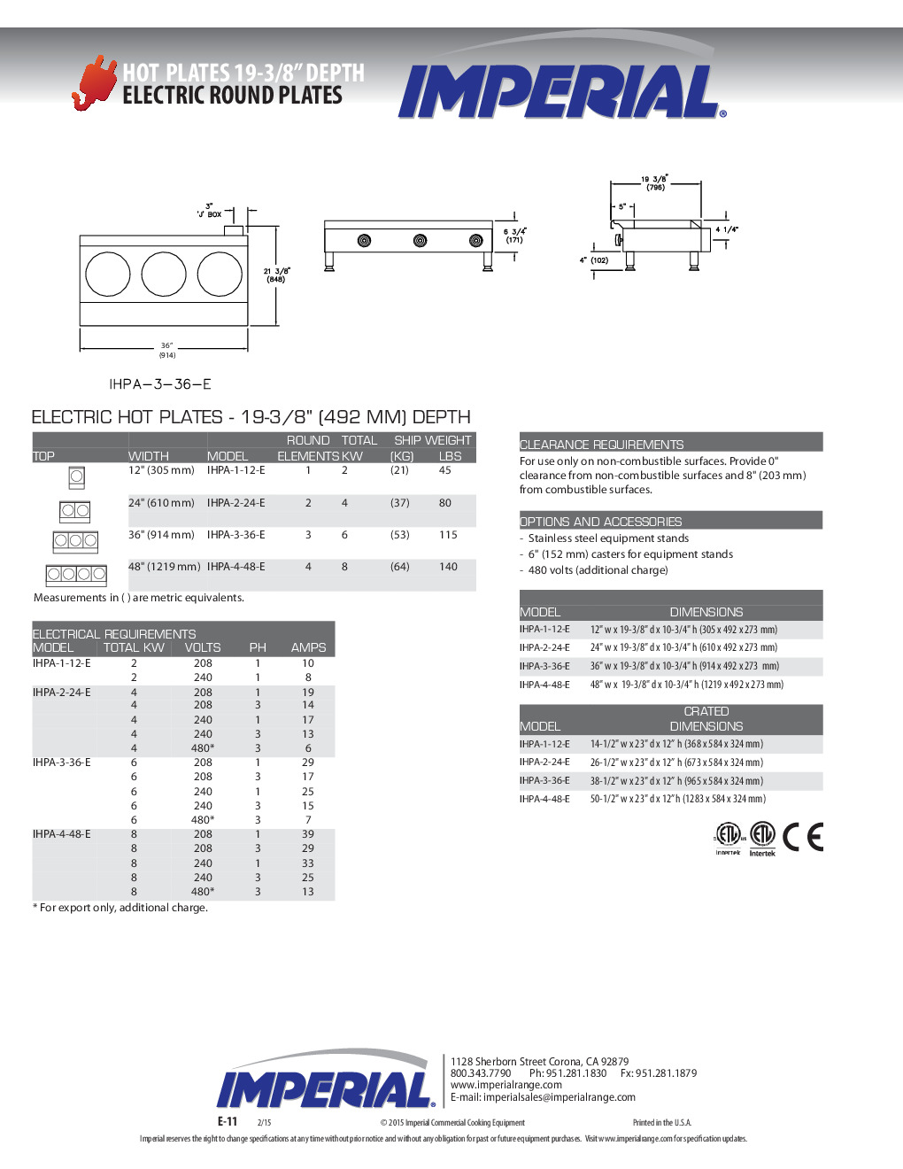 Imperial IHPA-1-12-E Electric Countertop Hotplate