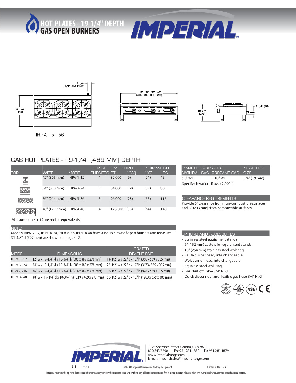 Imperial IHPA-1-12 Gas Countertop Hotplate