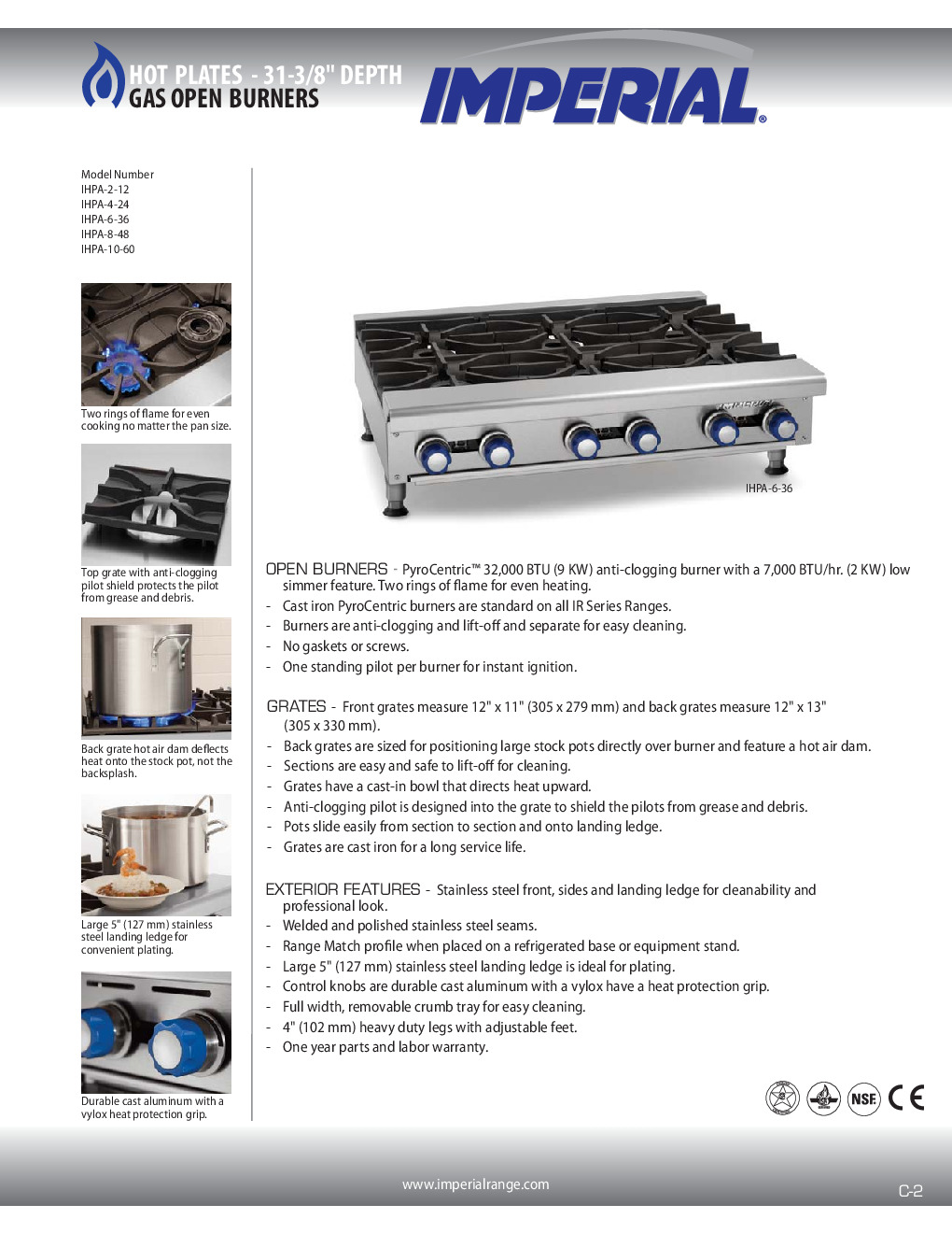 Imperial IHPA-2-12 Gas Countertop Hotplate