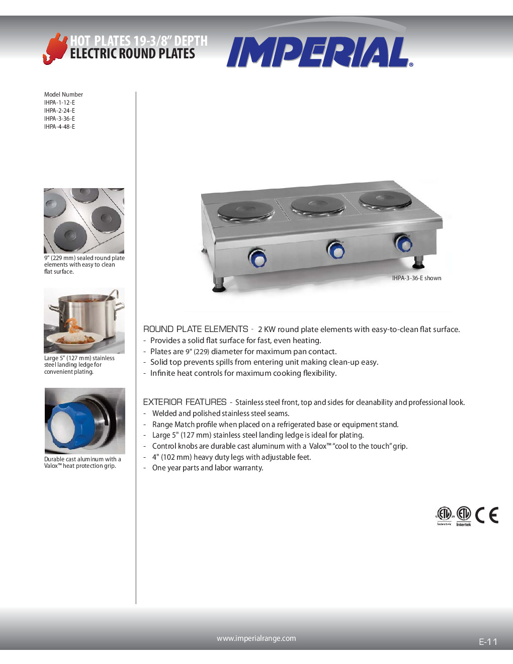Imperial IHPA-3-36-E Electric Countertop Hotplate