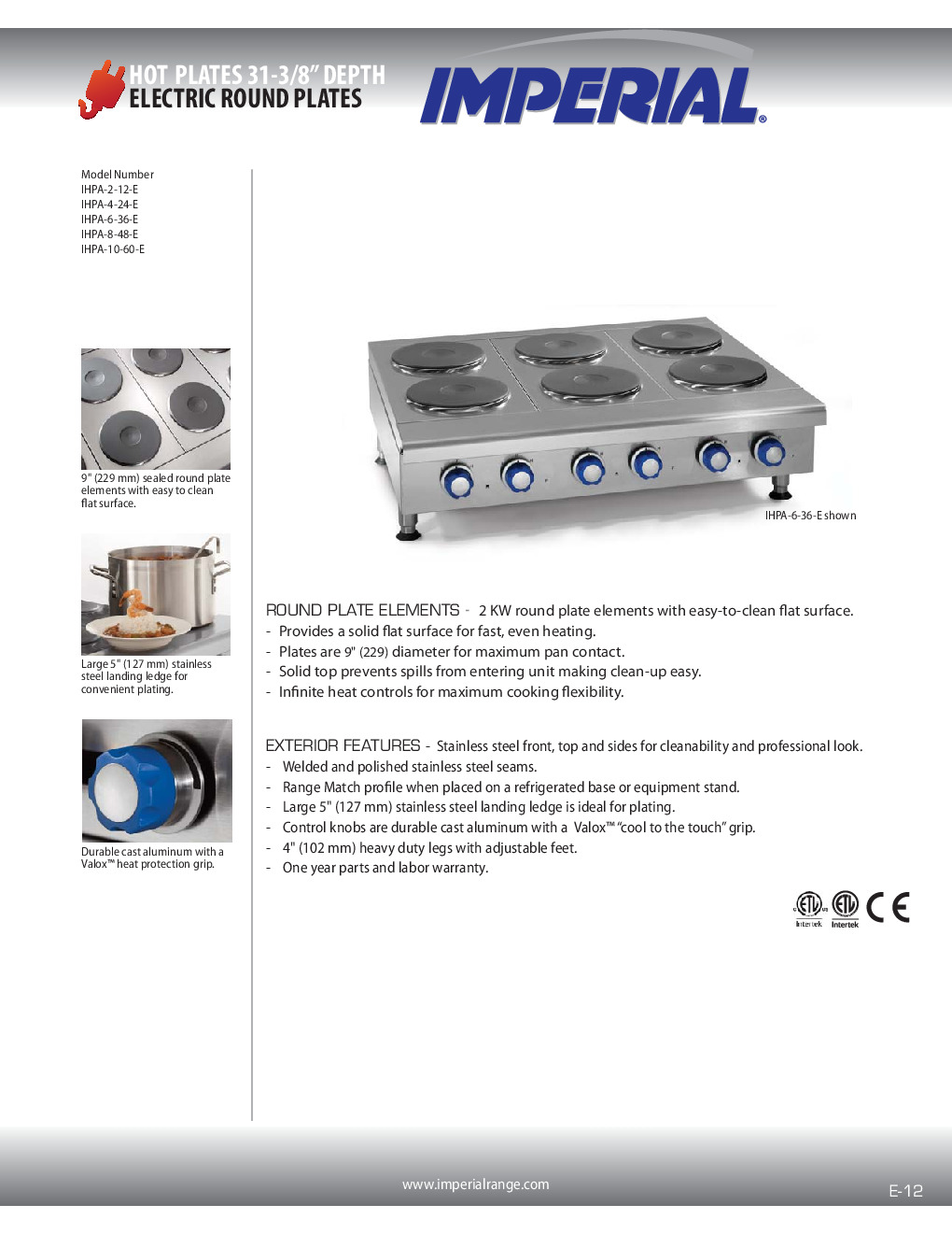 Imperial IHPA-4-24-E Electric Countertop Hotplate