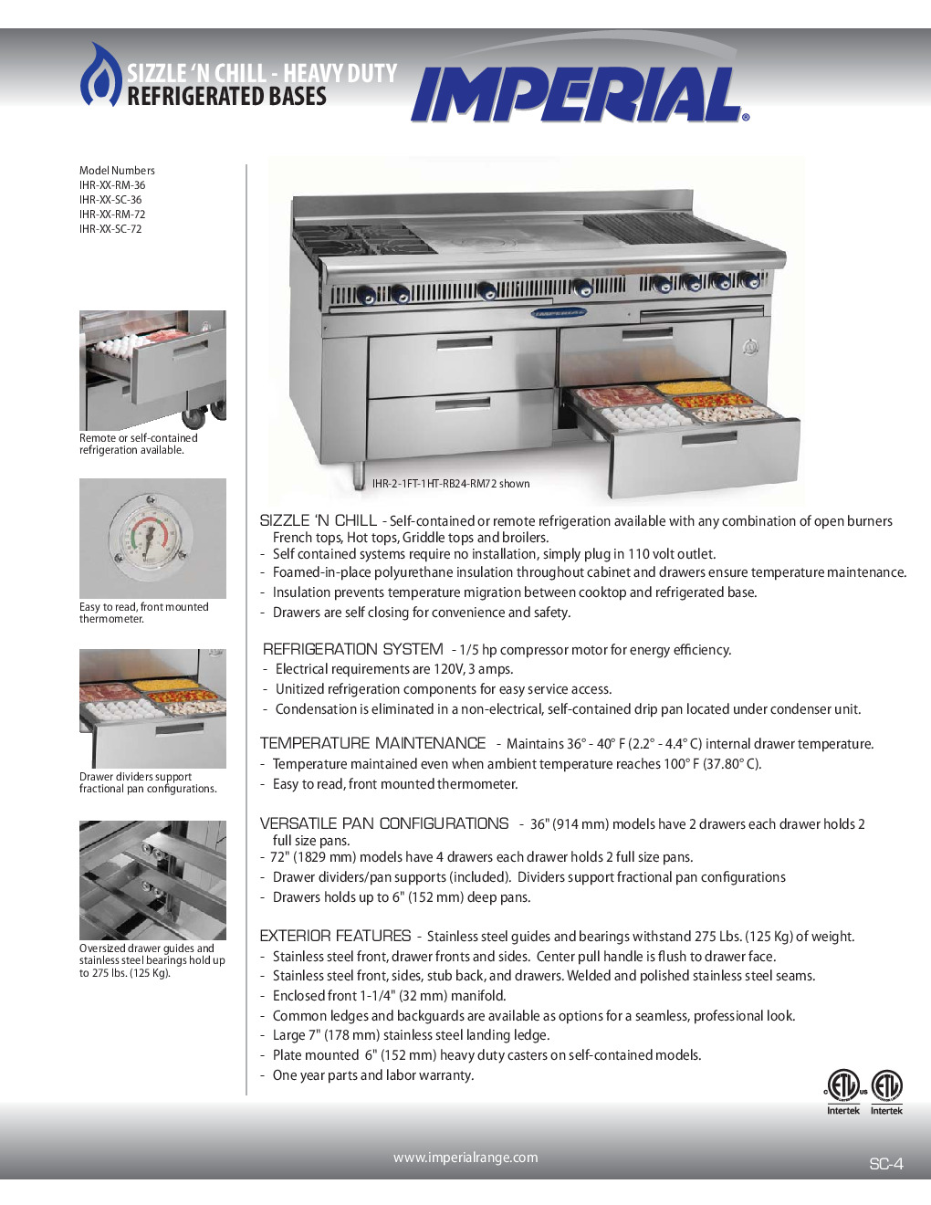 Imperial IHR-XX-RM-72 Refrigerated Base Equipment Stand