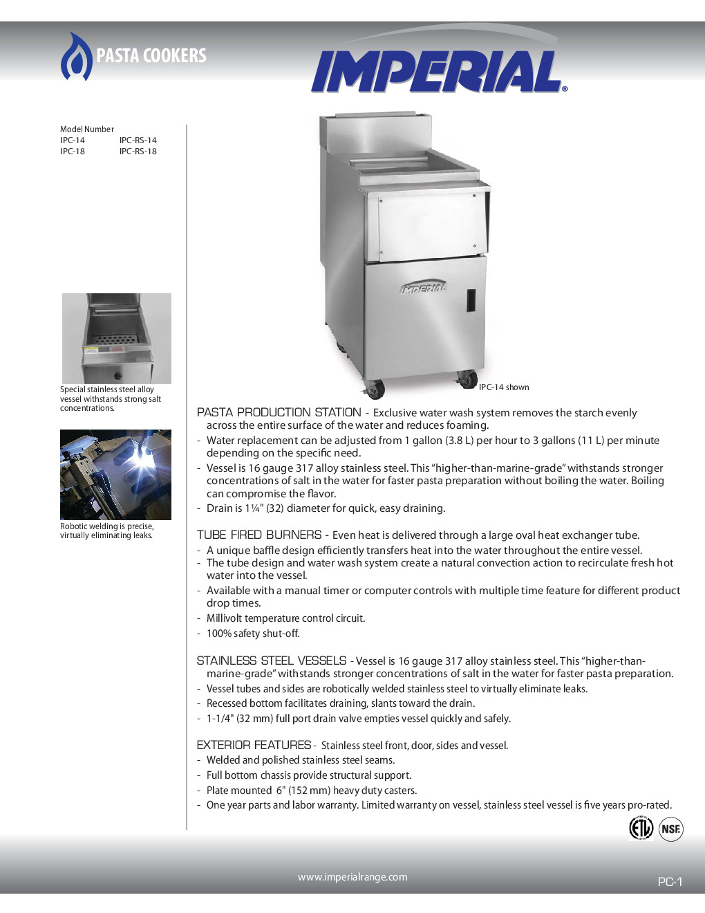 Imperial IPC-RS-14 Pasta Rinse Station