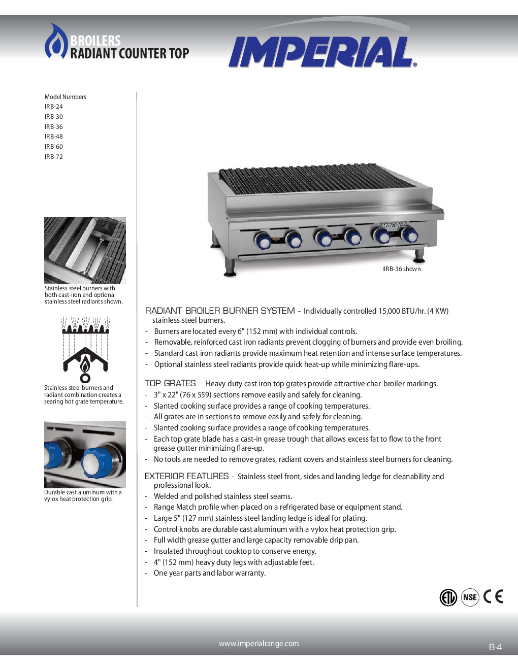 Imperial IRB-30 Countertop Gas Charbroiler