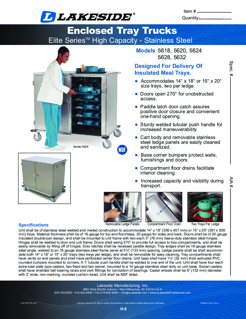 Lakeside 5628 Meal Tray Delivery Cabinet