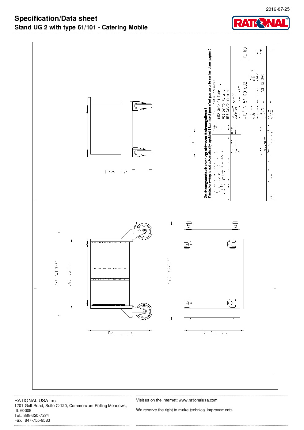 RATIONAL 60.30.890 Oven Equipment Stand