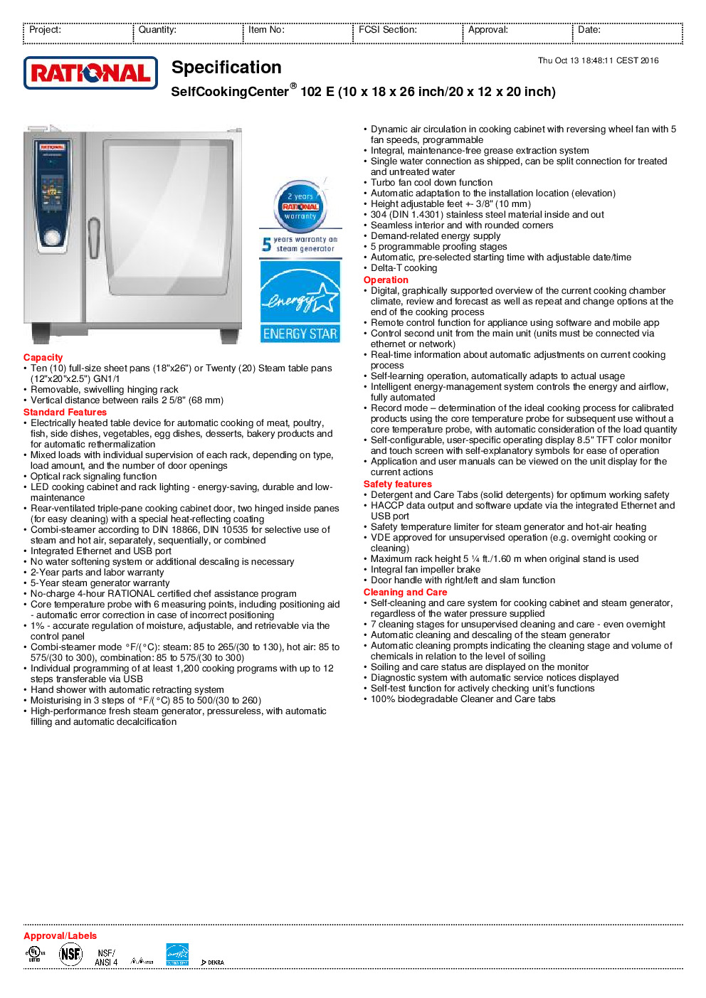 RATIONAL B128106.12 Electric Combi Oven