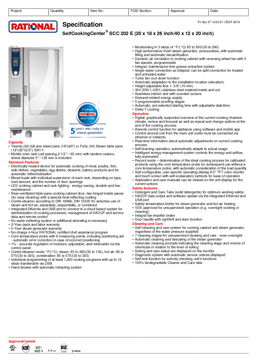 RATIONAL B228106.12 Electric Combi Oven