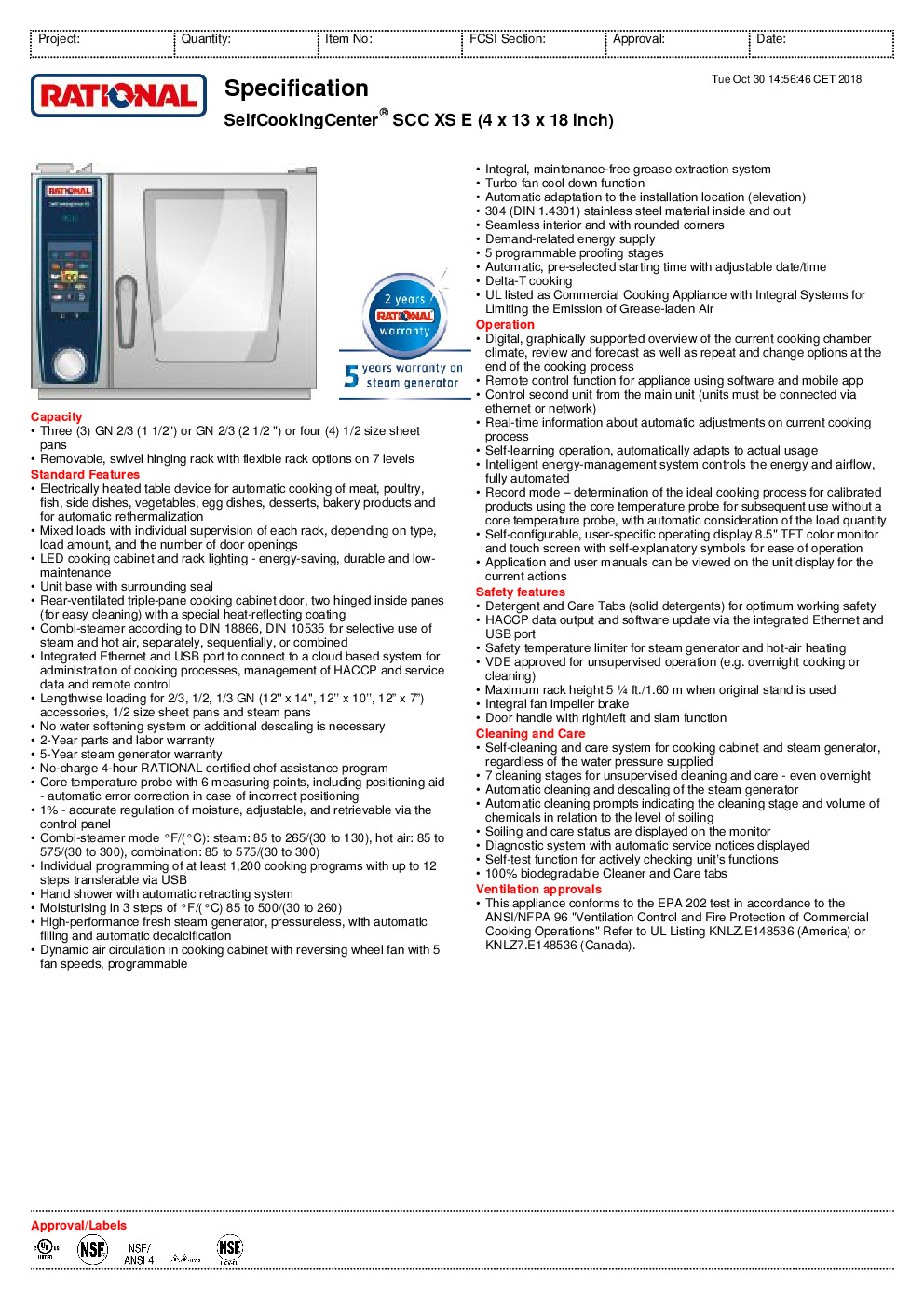 RATIONAL B608106.12 Electric Combi Oven