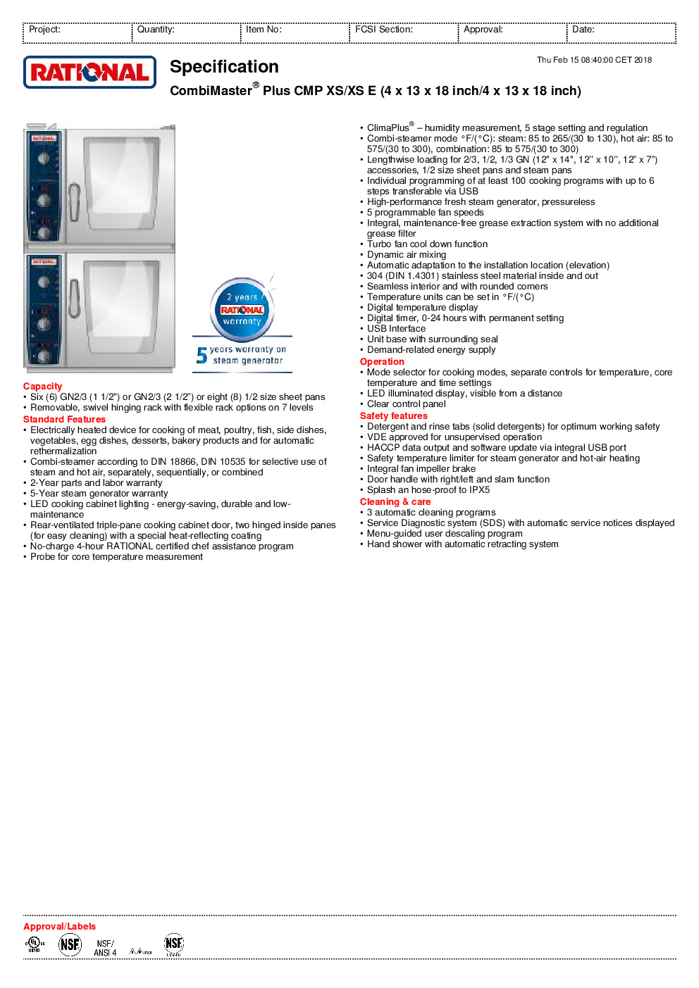 RATIONAL B609106.12.202 Electric Combi Oven