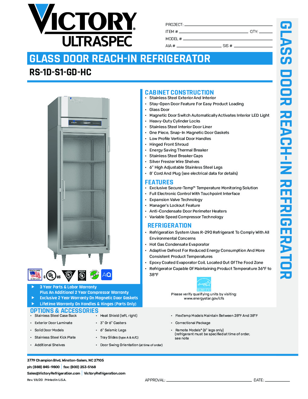 Victory RS-1D-S1-GD-HC Reach-In Refrigerator
