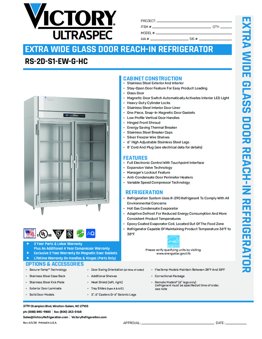 Victory RS-2D-S1-EW-G-HC Reach-In Refrigerator