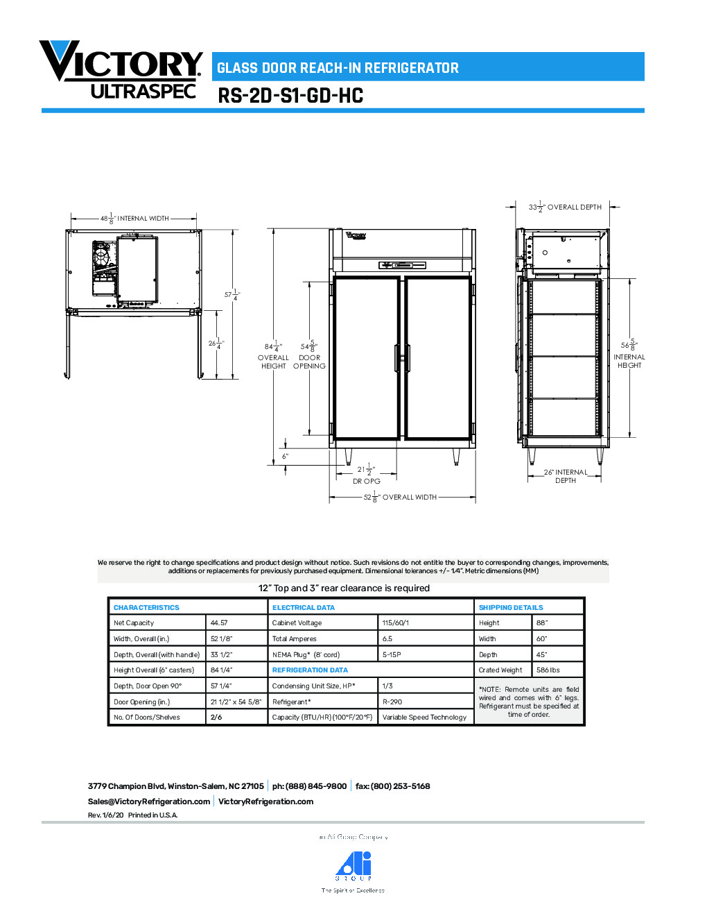 Victory RS-2D-S1-HC-GD Reach-In Refrigerator