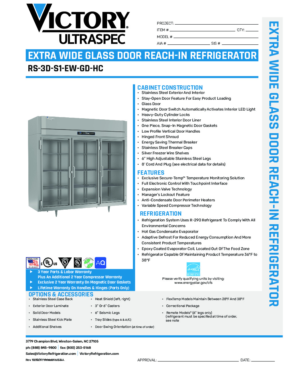 Victory RS-3D-S1-EW-GD-HC Reach-In Refrigerator