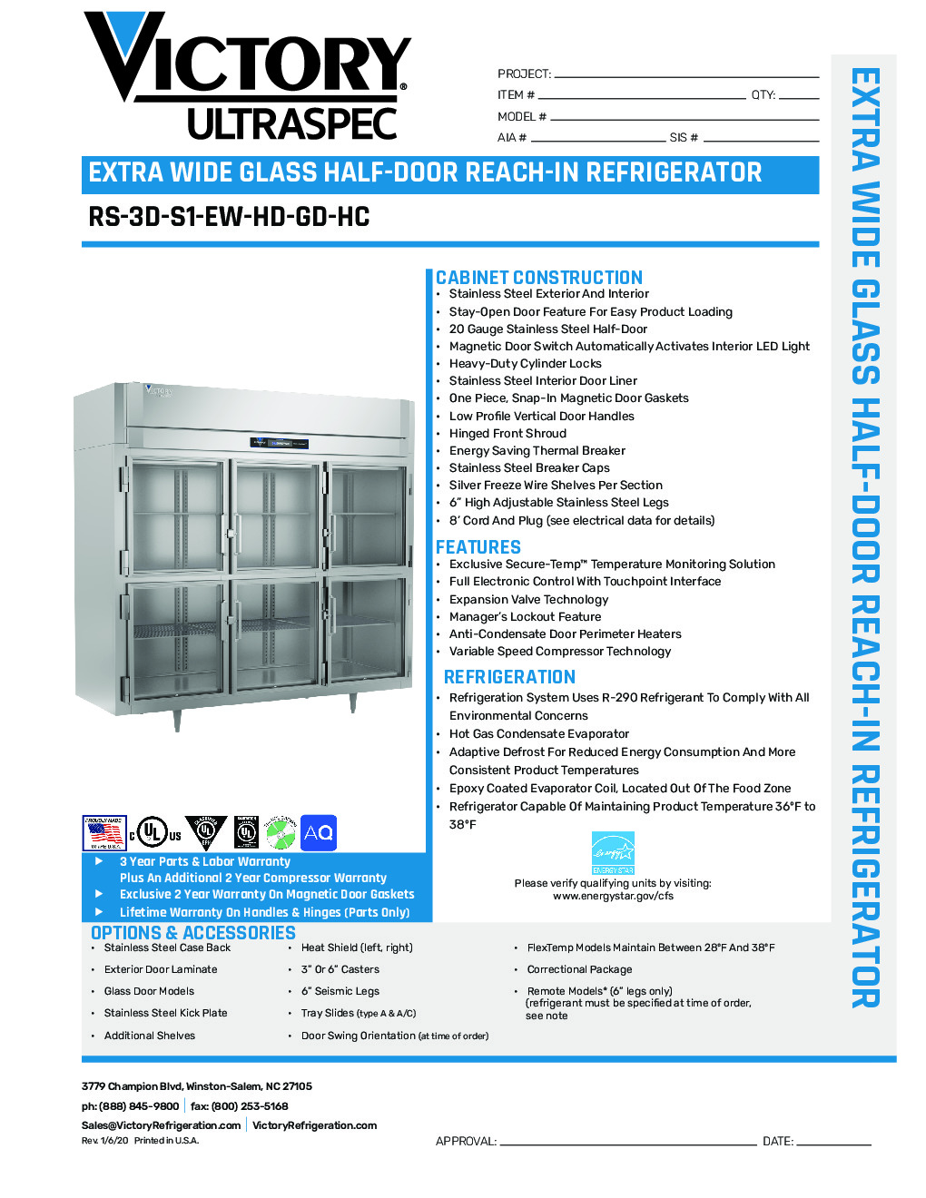 Victory RS-3D-S1-EW-HG-HC Reach-In Refrigerator
